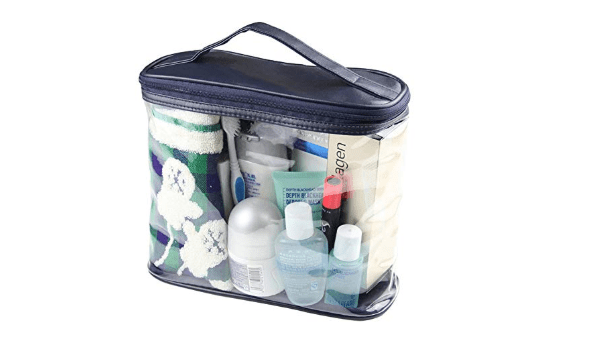 Best and cheapest toiletry bag is clear and has one large compartment