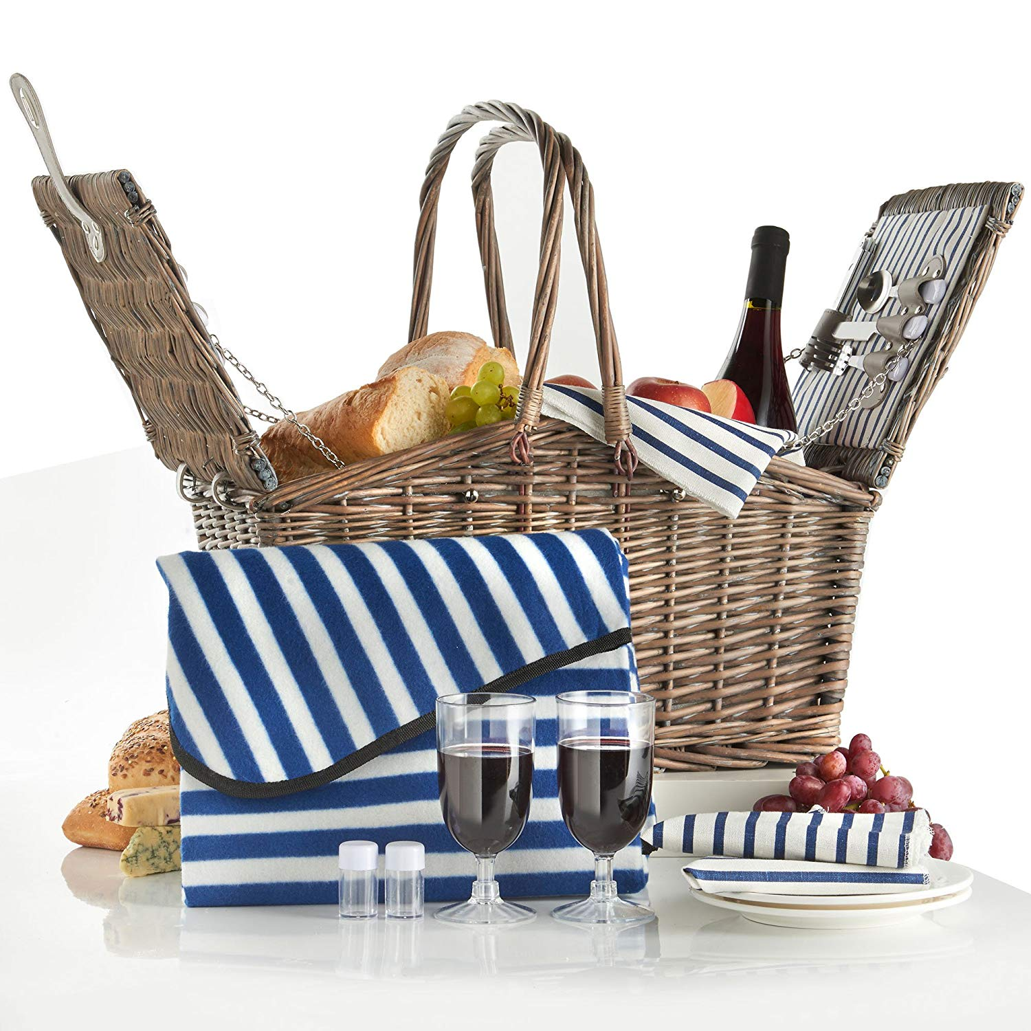 deluxe 2 person folding handle picnic basket