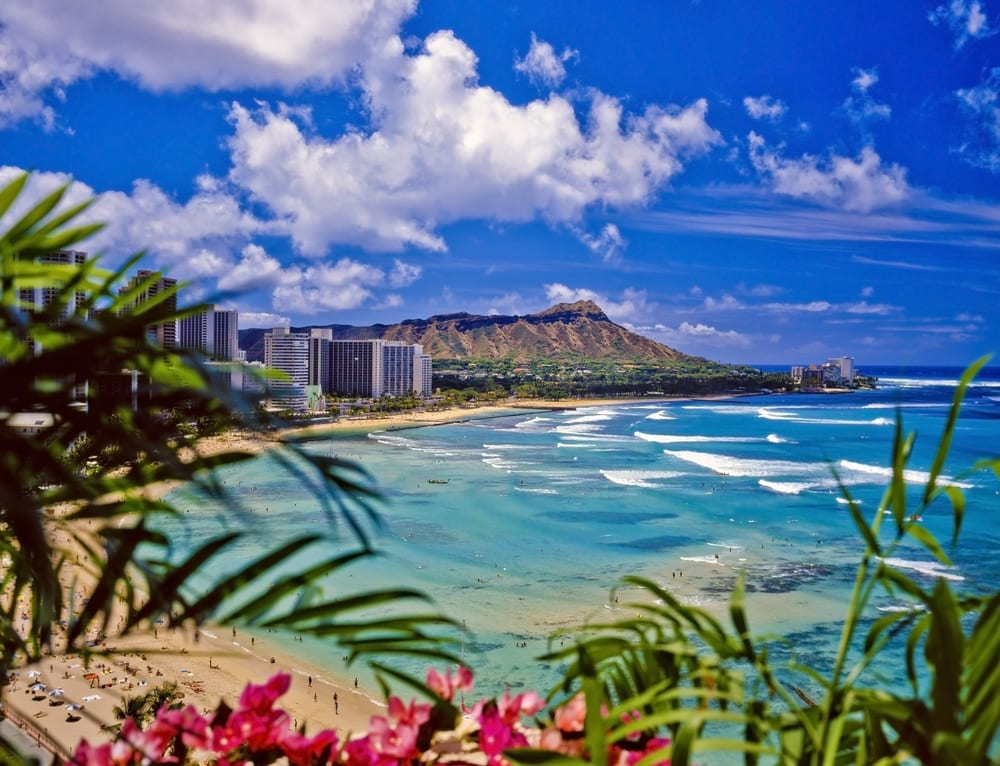 waikiki beach and diamond head is the best warm winter vacation in the USA