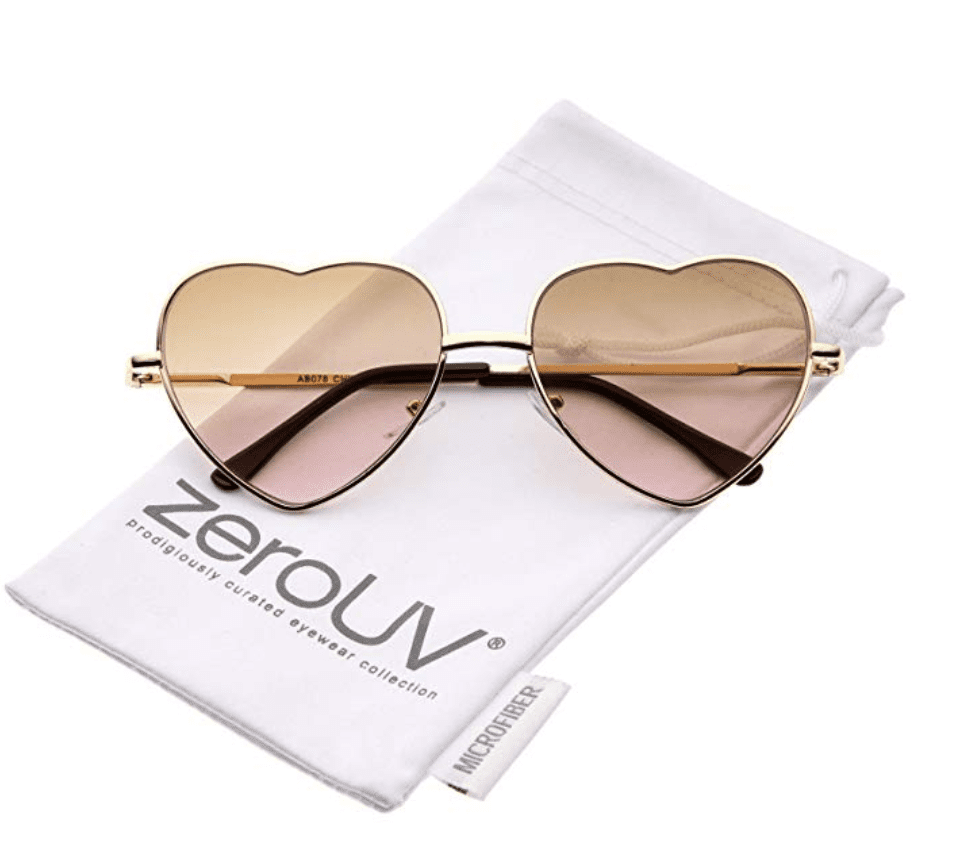 colored gradient lens heart sunglasses