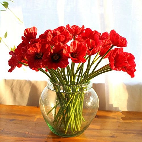 decorative silk fake artificial poppy flowers