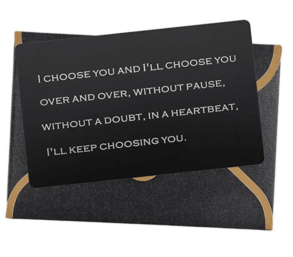 engraved metal wallet love note insert