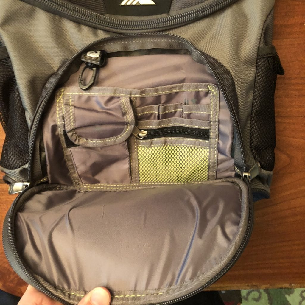 high sierra at3 carry-on wheeled backpack daypack inside
