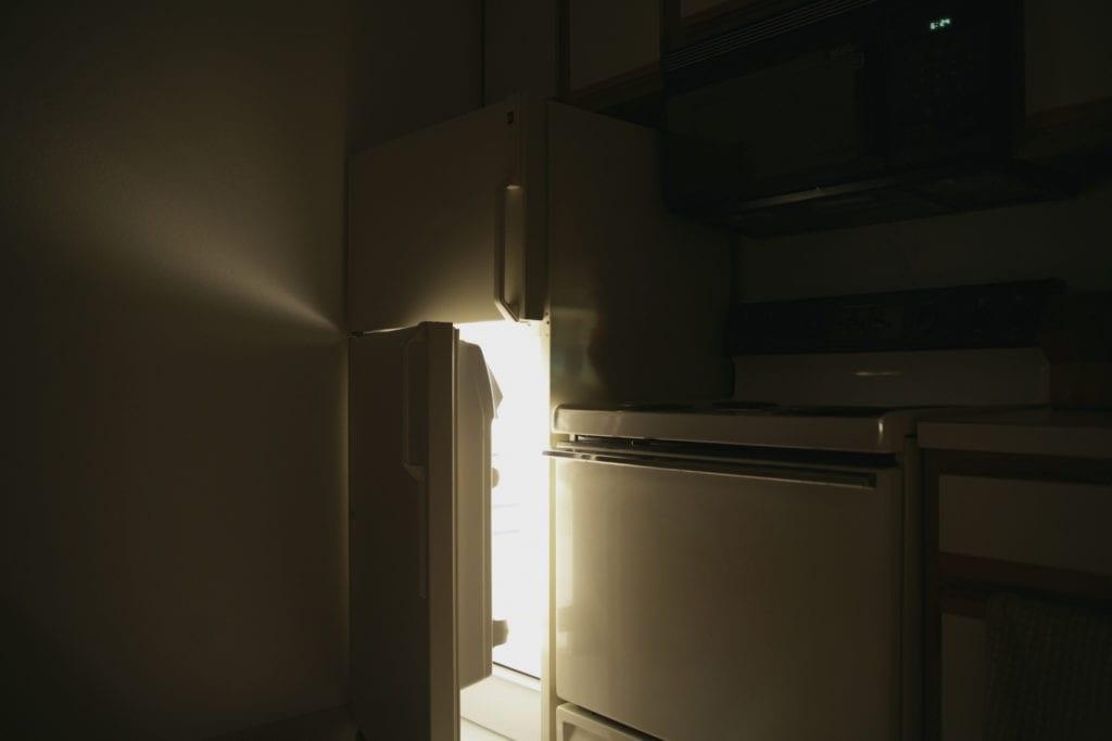 refrigerator open at night