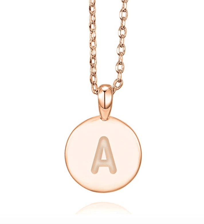 pavoi 14k rose gold plated initial alphabet pendant necklace palentines day gifts