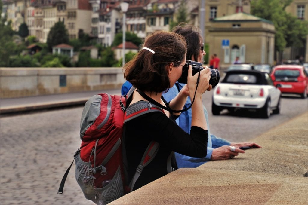 travel backpack sightseer in europe