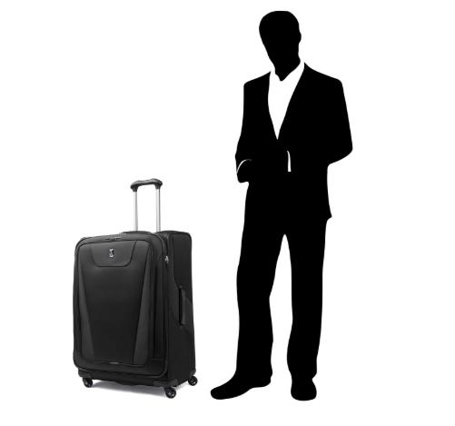Travelpro bag next to man