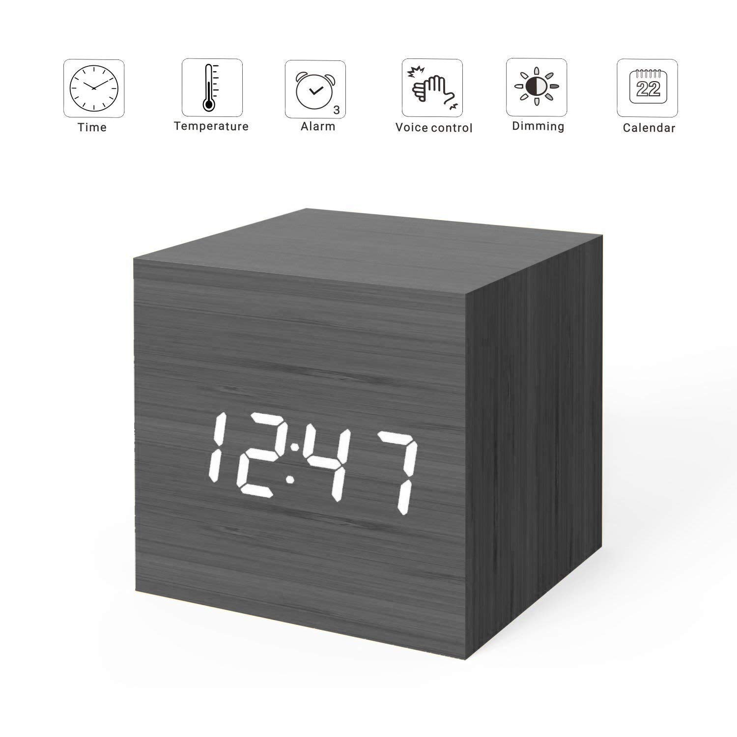 wood led lightup cube alarm clock