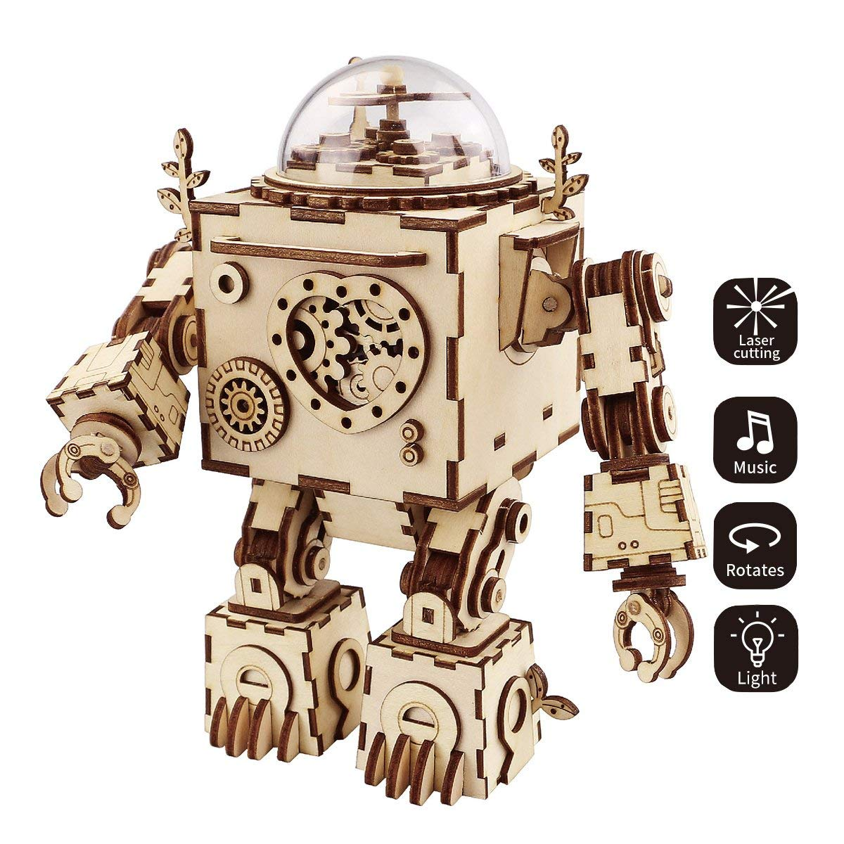3D robot puzzle wooden music box DIY kit