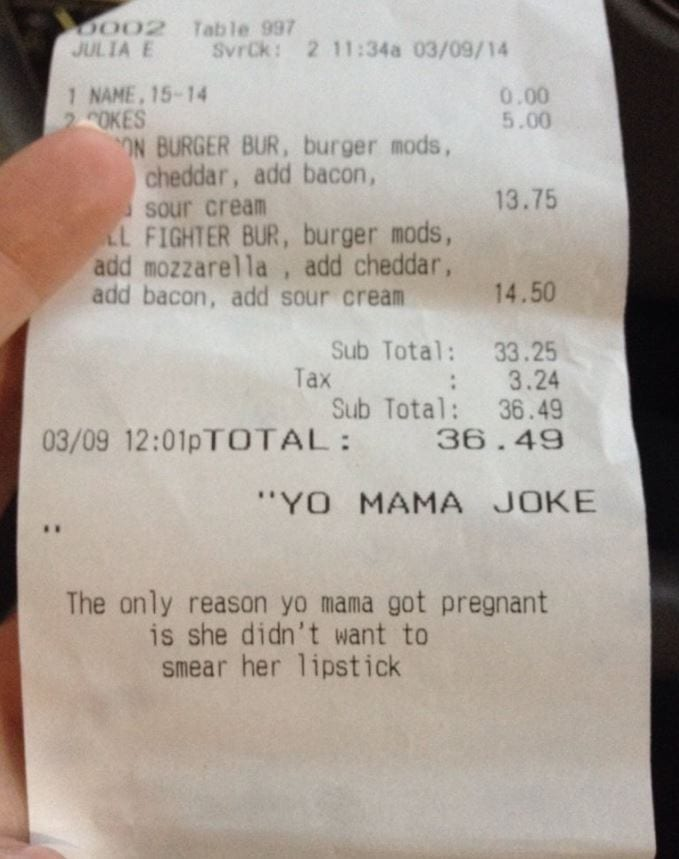 yo mama notes on dinner receipts