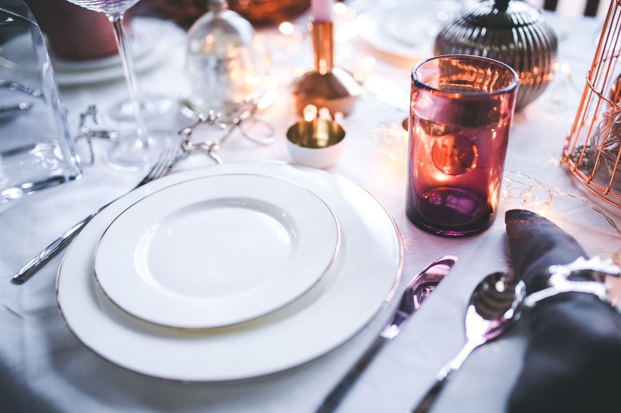 formal dinner table setting for a romantic night in