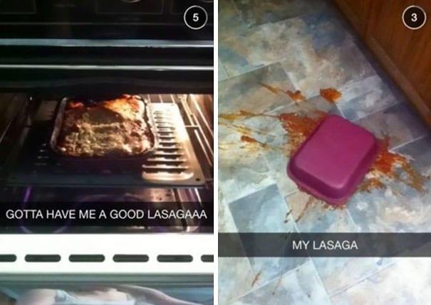 hilarious snapchat fails lasagna