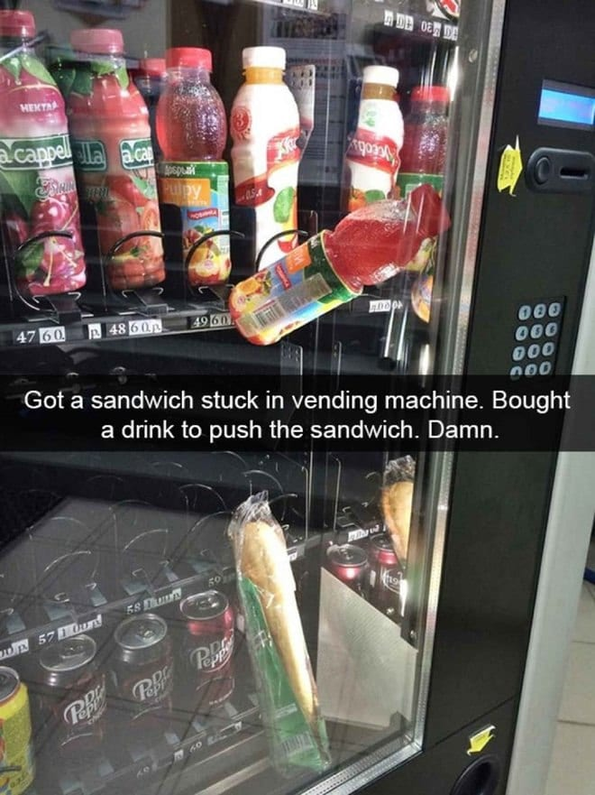 hilarious snapchat fails sandwich and beverage