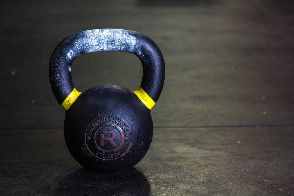 kettlebell with chalk on handle