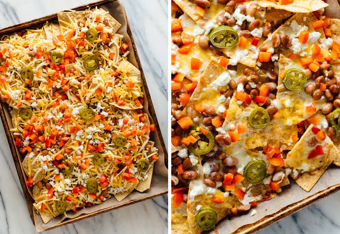 loaded veggie nachos for an ideas for a romantic dinner at home