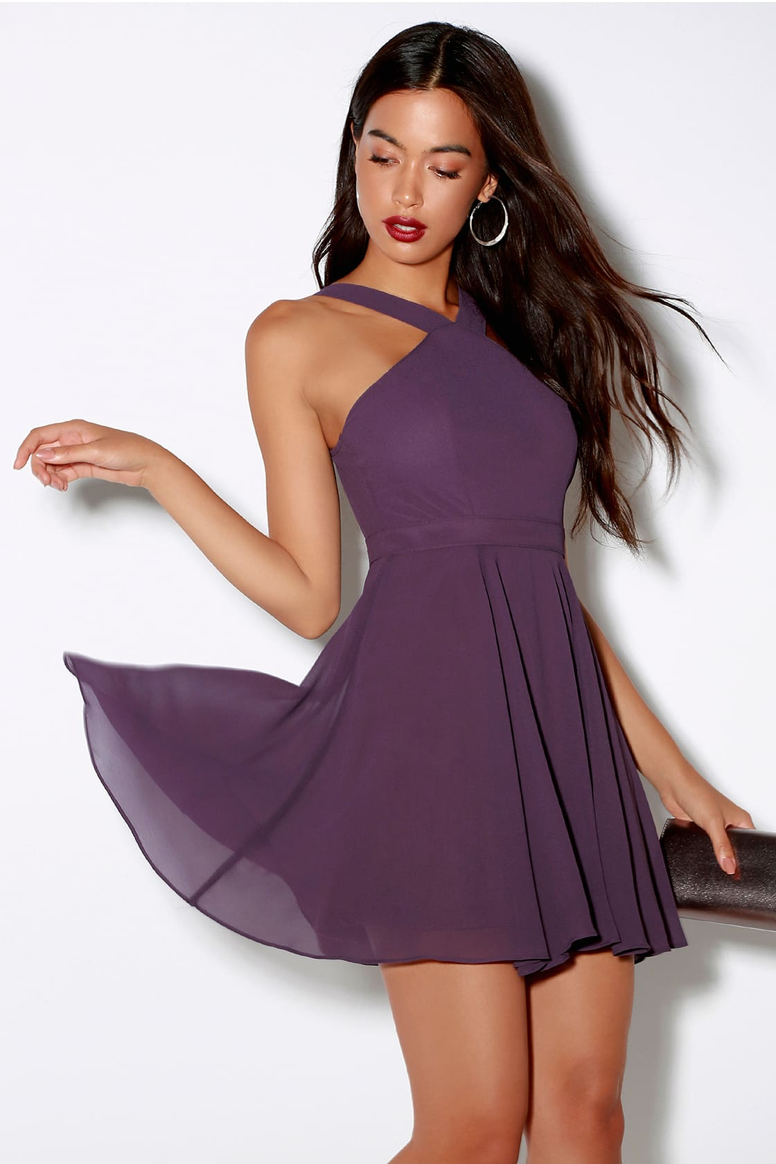 lulus dusty purple skater dress for prom