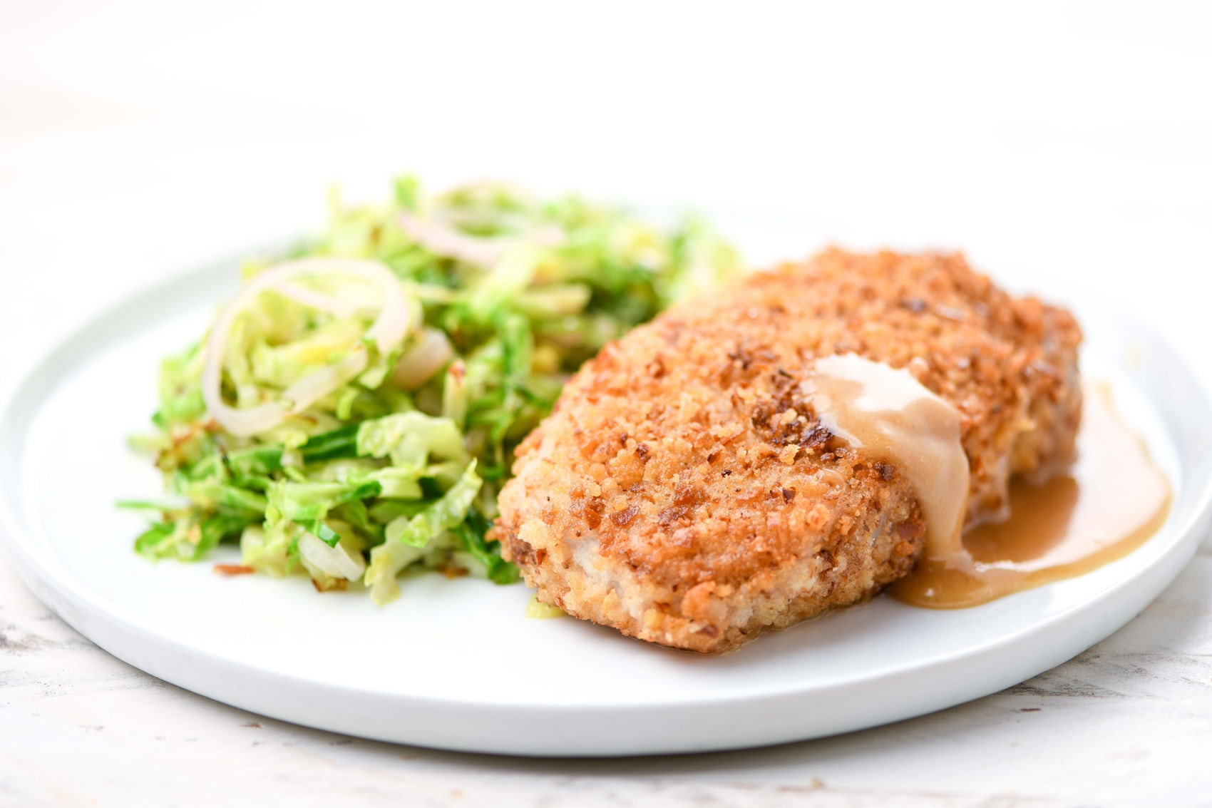 pretzel-crusted pork chop