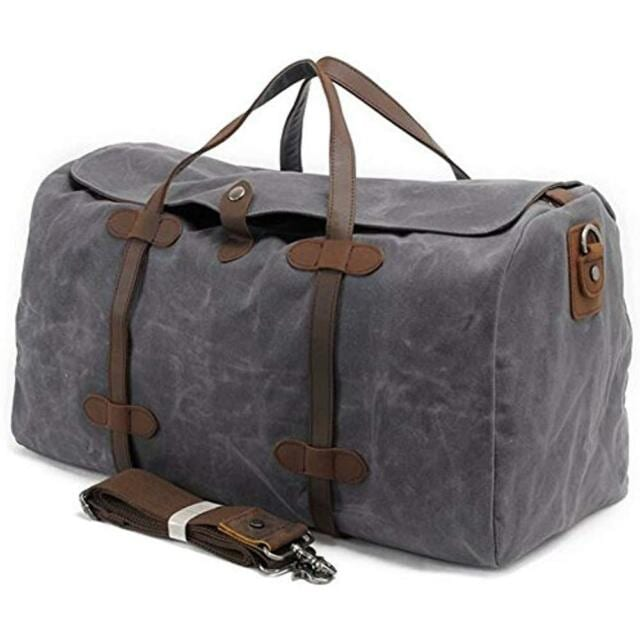 S ZONE Waterproof Waxed Canvas Leather Duffel Bag