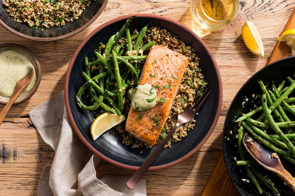 salmon with dijon sauce, blistered green beans, and quinoa