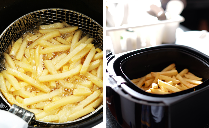 Fries in a deep fryer and in an air fryer