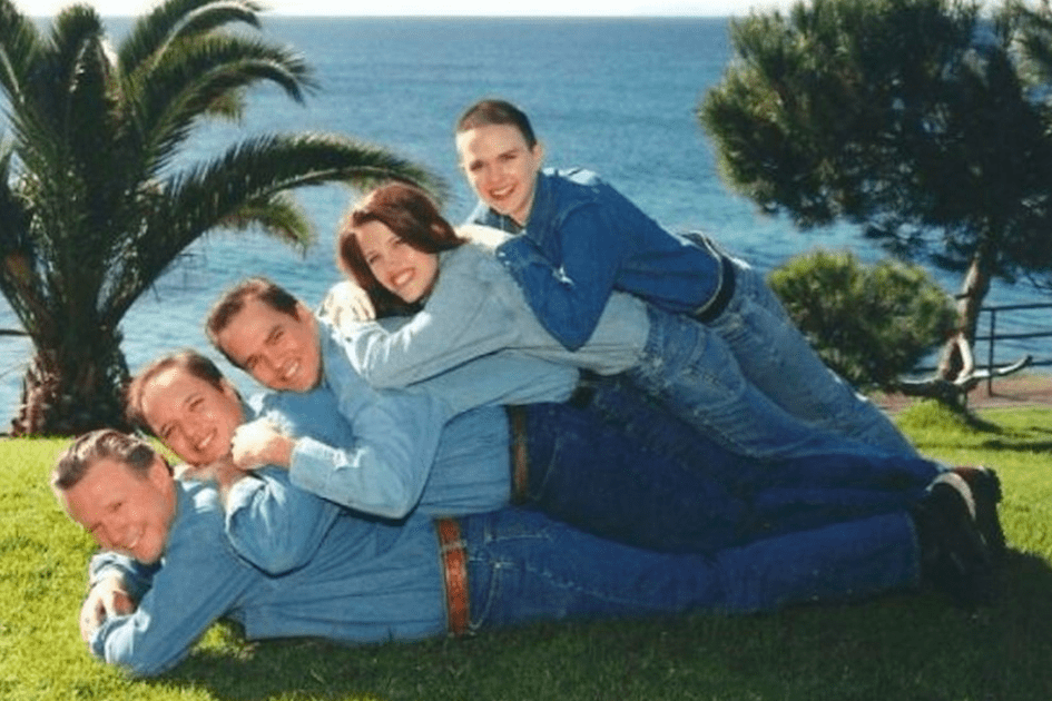double denim funny vacation photo
