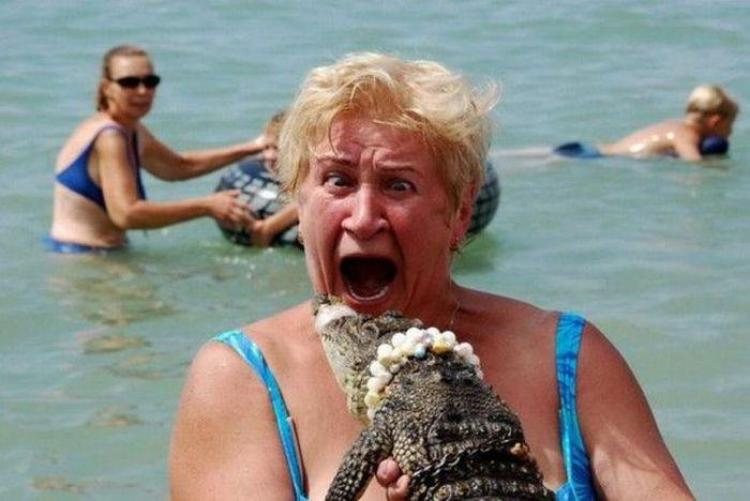 funny vacation photo of a woamn holding a small crocodile
