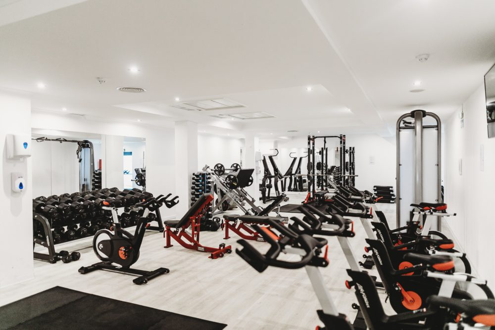 gym with exercise bikes