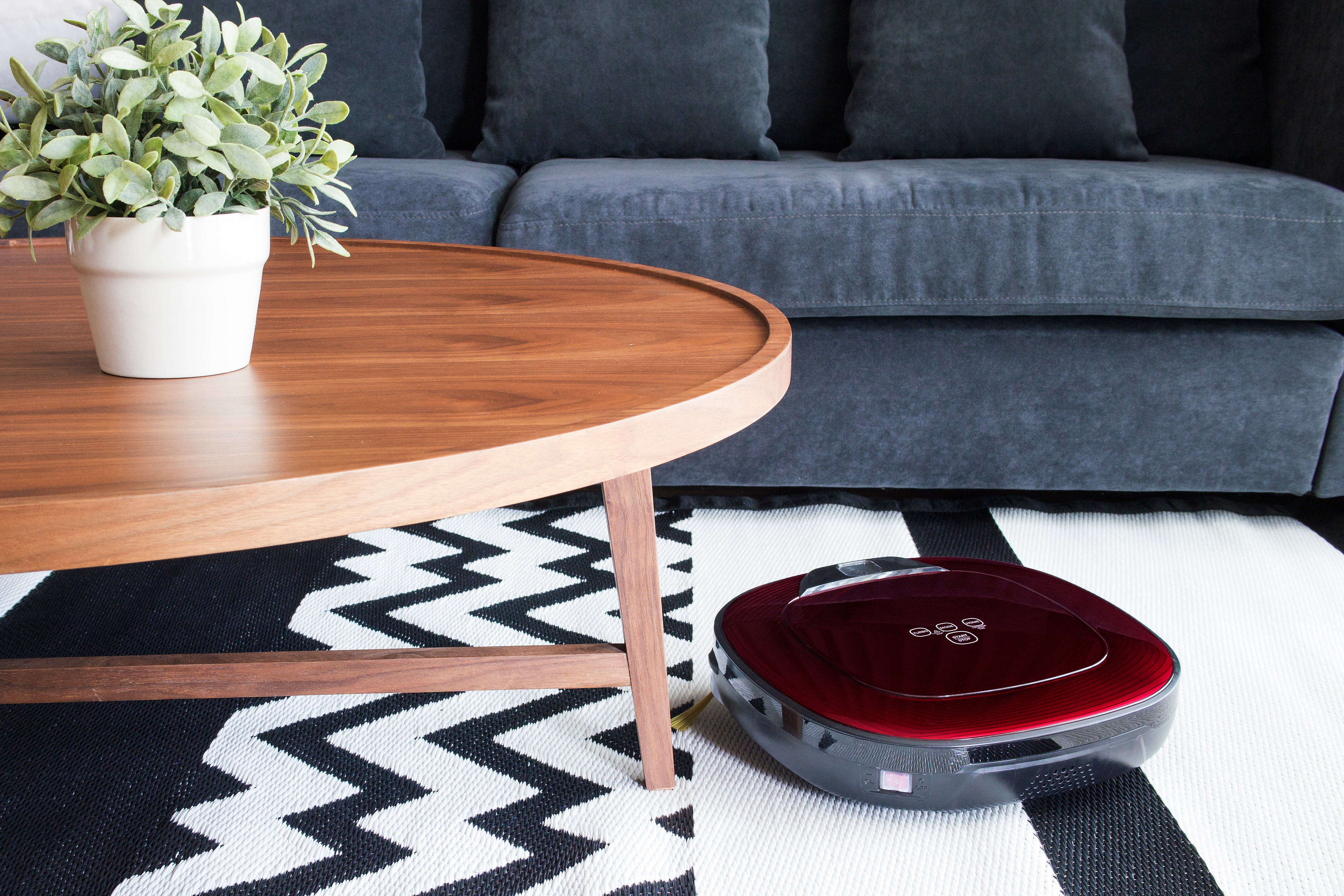red robot vacuum