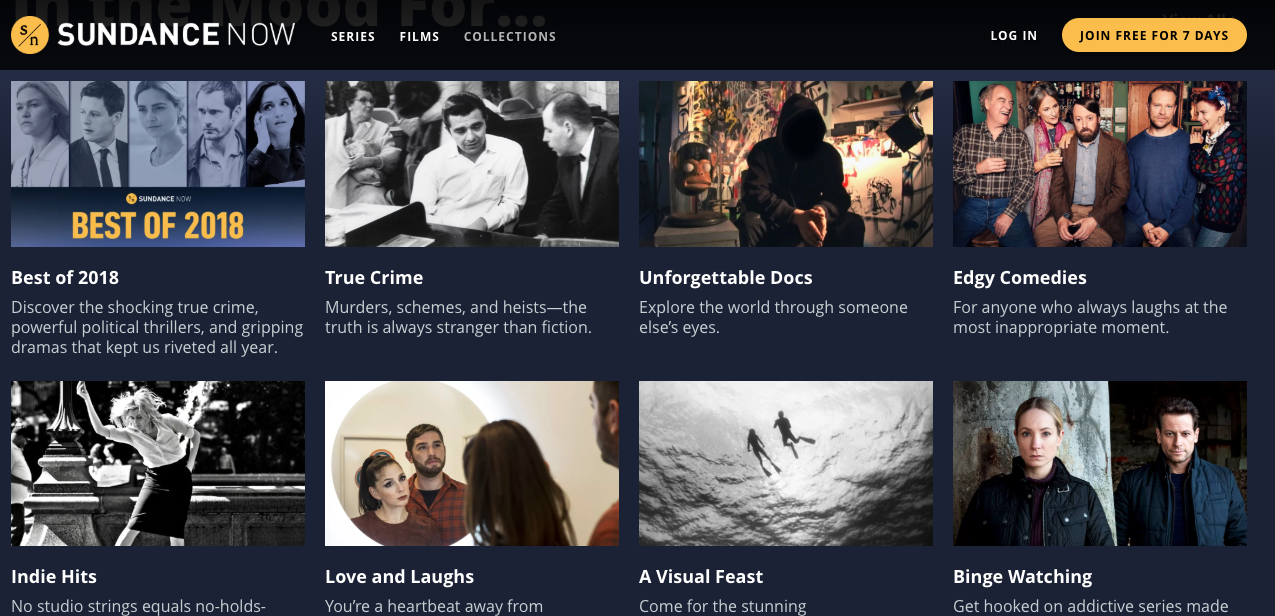 Screenshot of Sundance Now Categories
