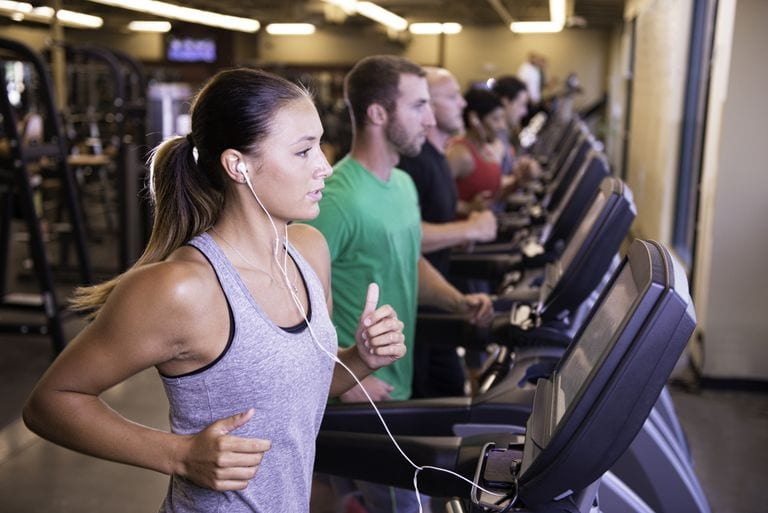 treadmill workout in gym