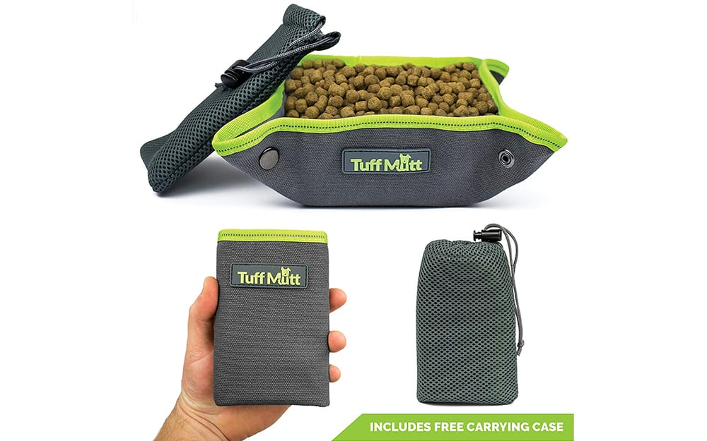 tuff mutt collapsible canvas portable dog bowl