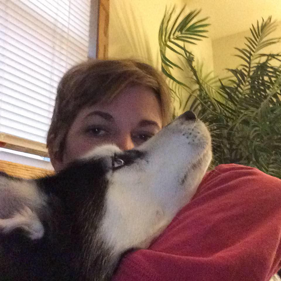 Stephanie and her husky, Sierra