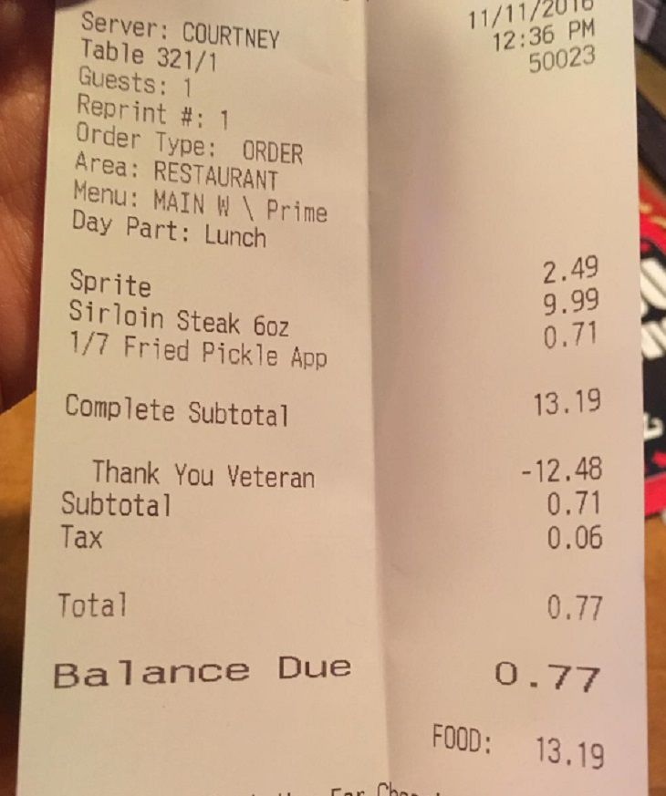 a bill for the empty table