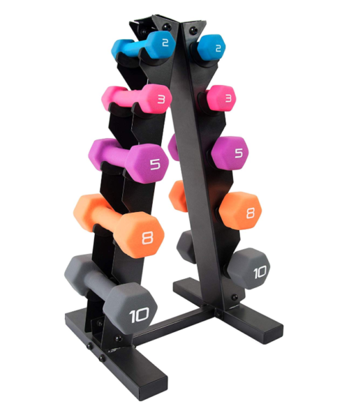 WF Athletic Supply 56 lb Dumbbell Set With Storage Rack
