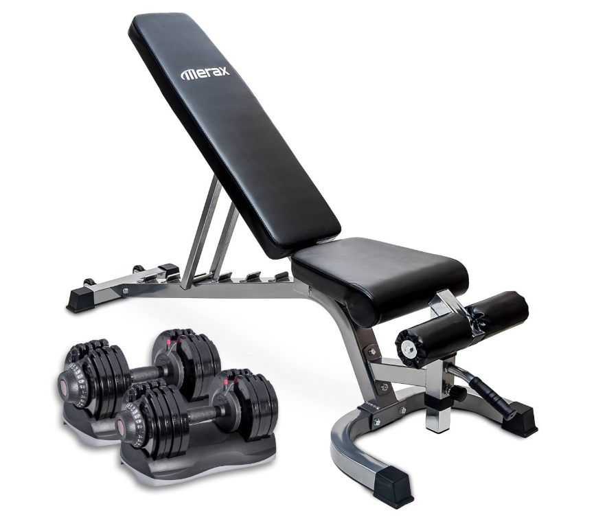 Dial Dumbbell and Bench Set