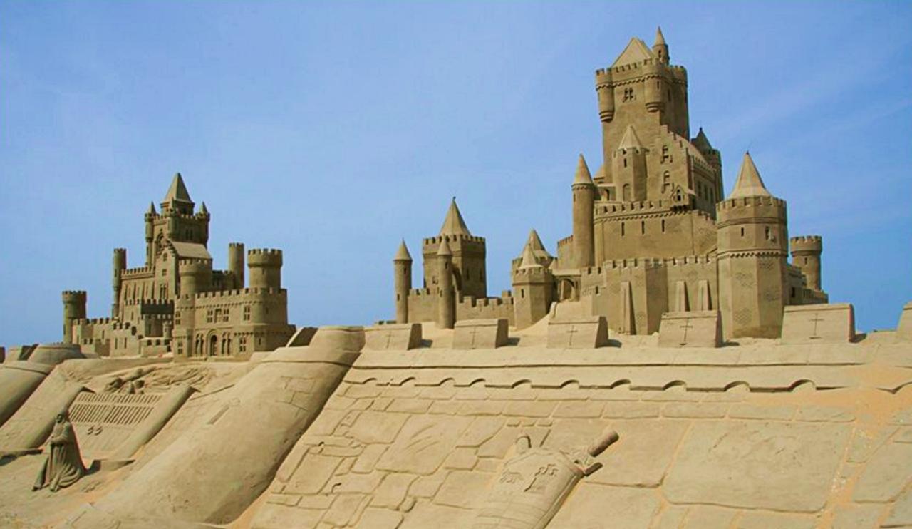 Hague among sandcastles