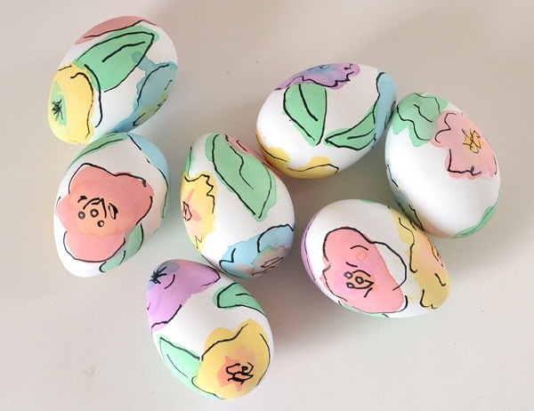 hand painted floral eggs