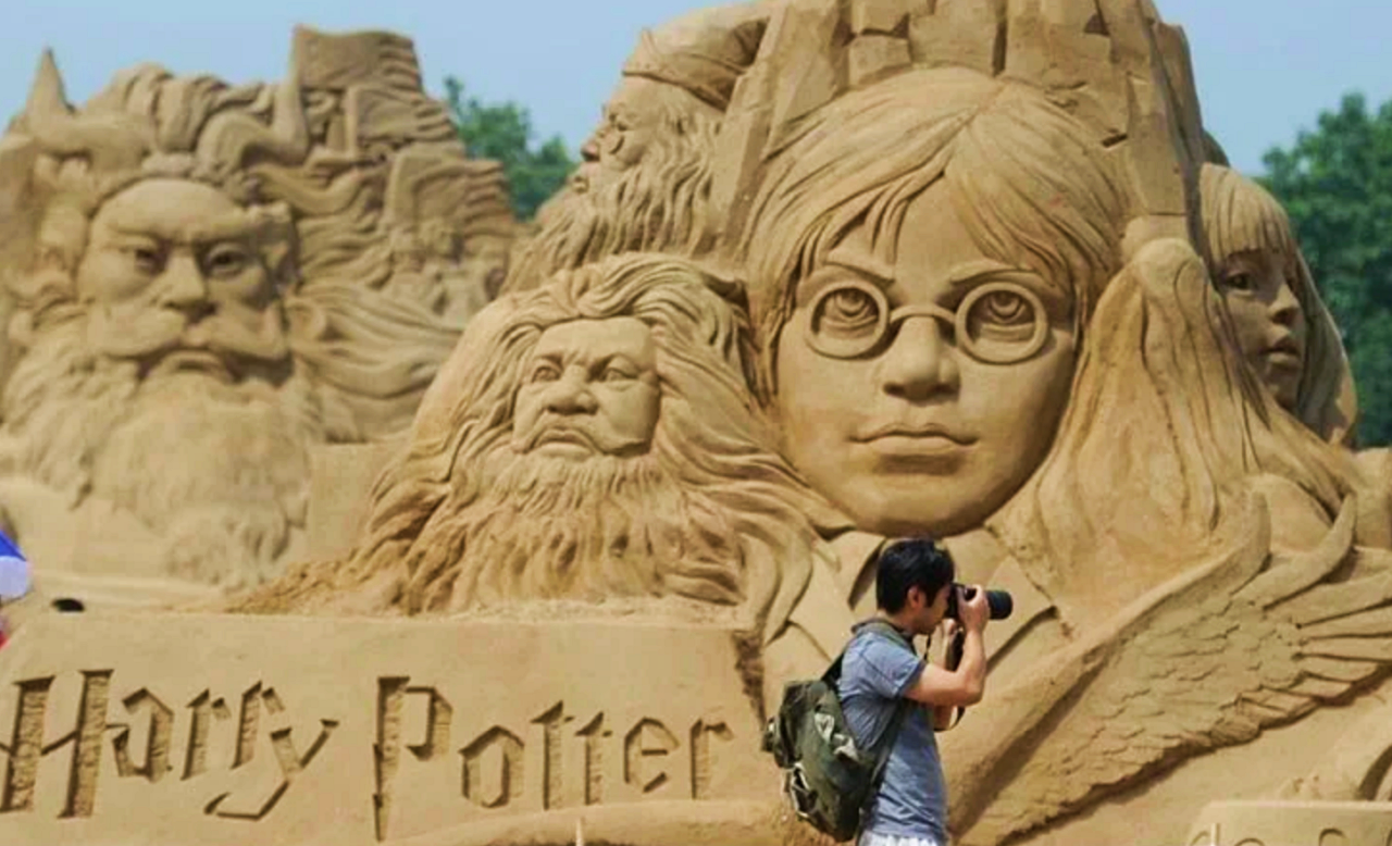 Harry Potter among sandcastles