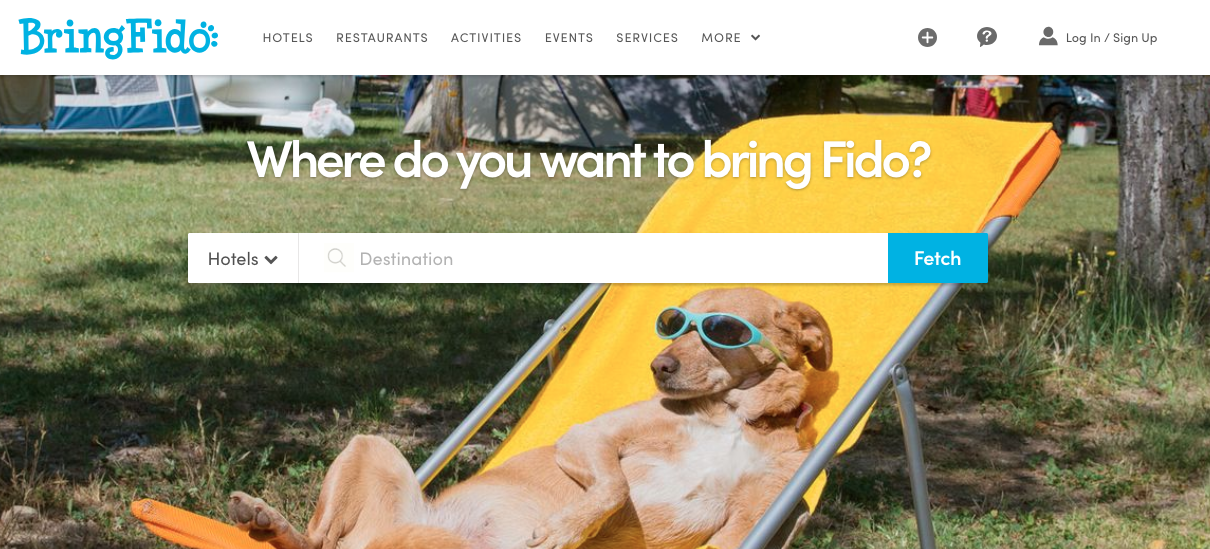 BringFido Home Page for National Pet Week