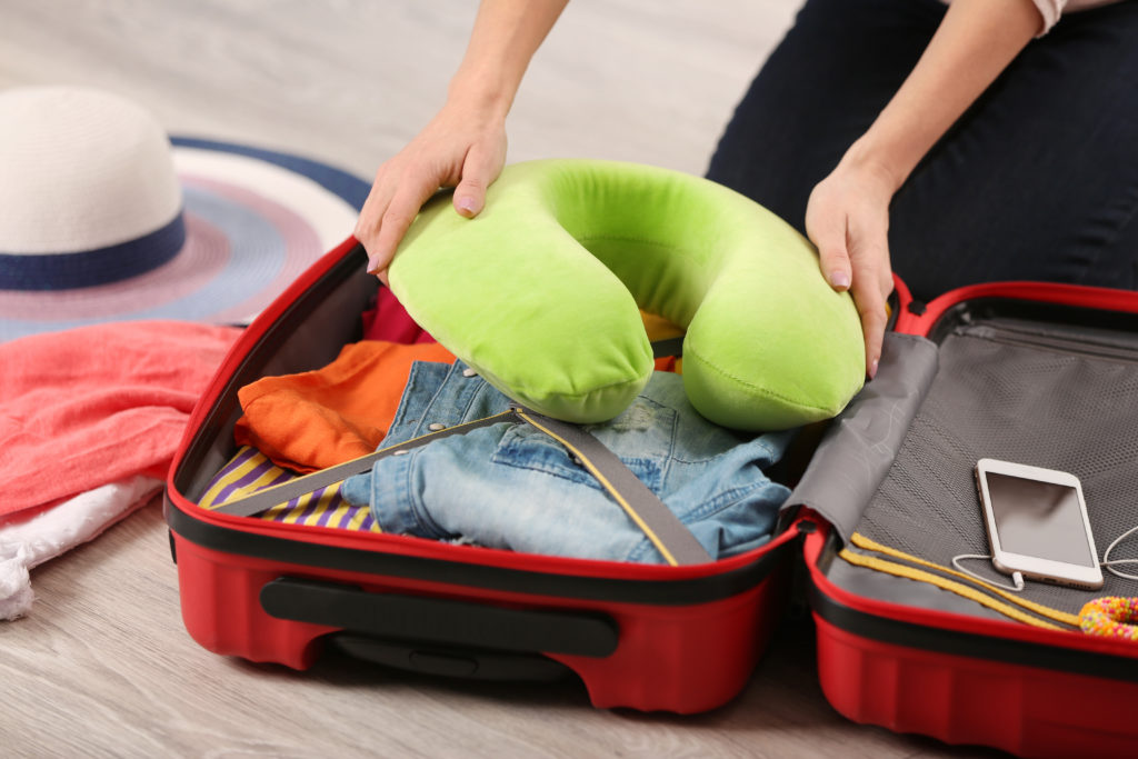 packing a travel pillow