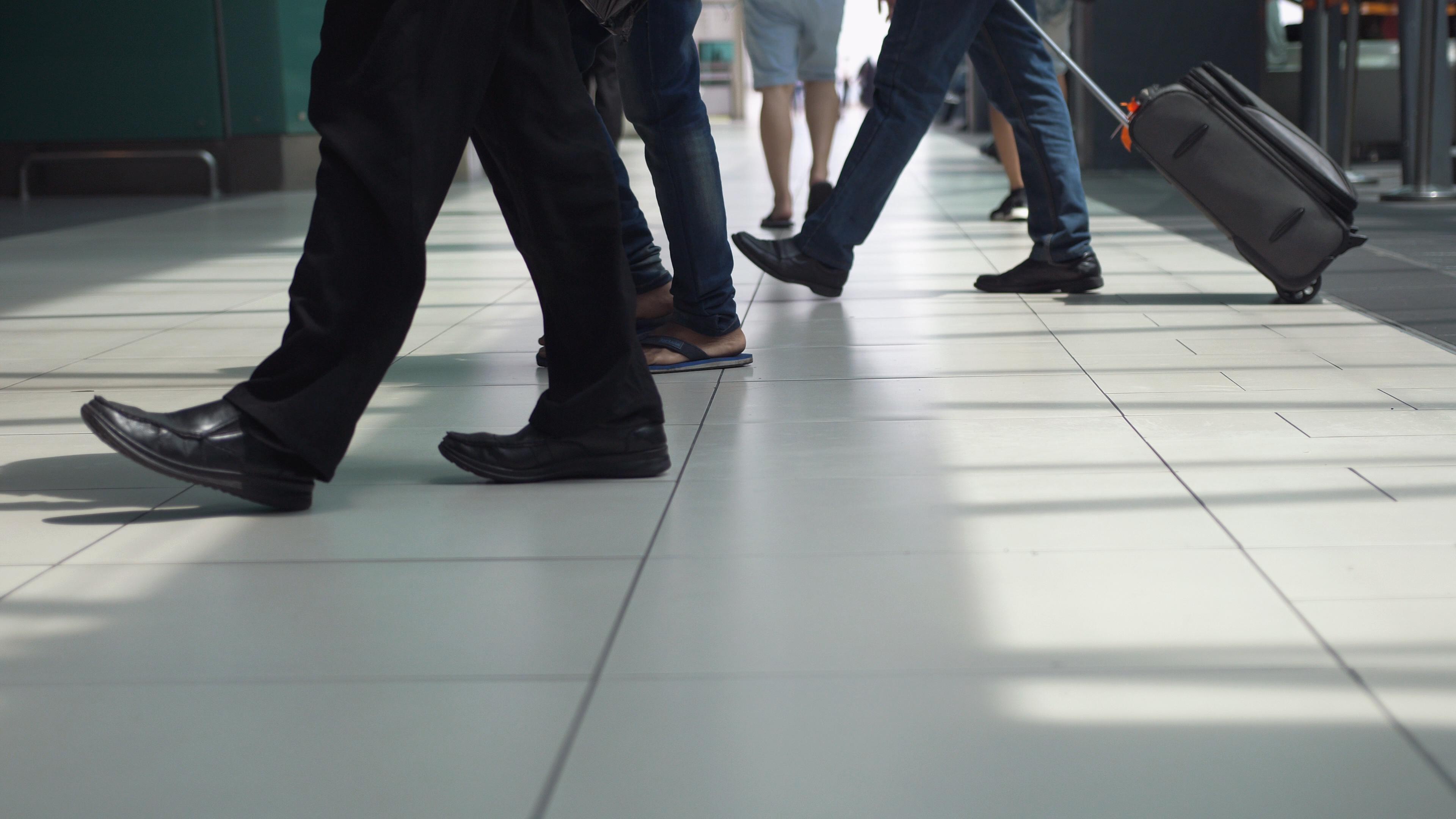travelers walking