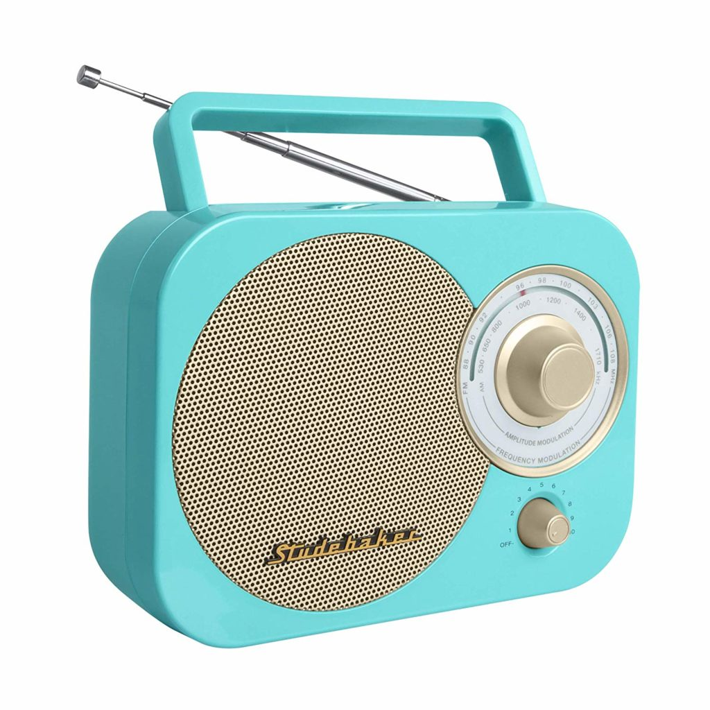 turquoise:gold retro classic portable am:fm radio