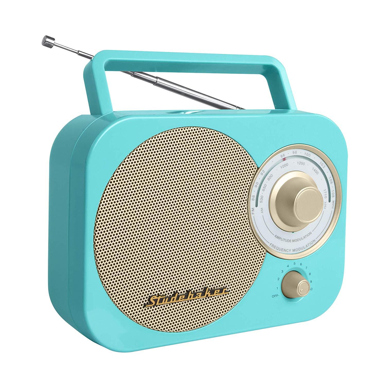 turquoise:gold retro classic portable am:fm radio