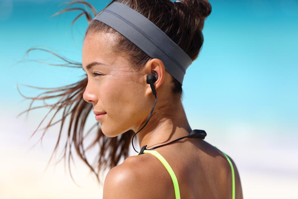 woman with wireless headphones