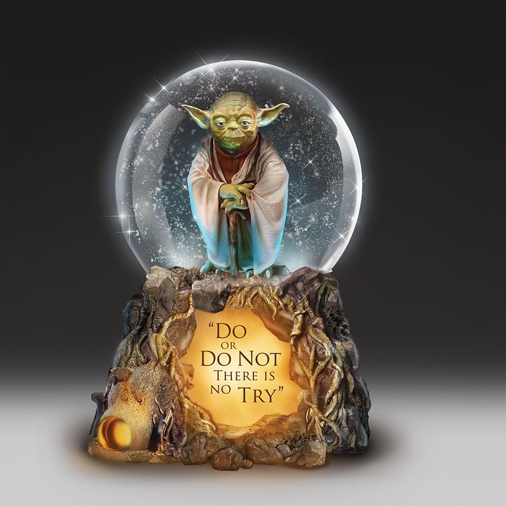 yoda musical glitter globe