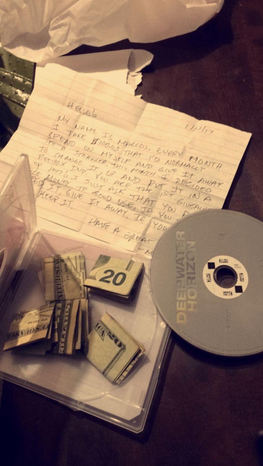 $100 inside a DVD case