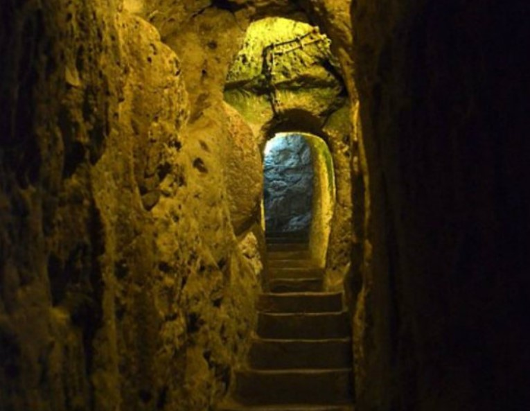 stairways and halls inside the mysterious cave