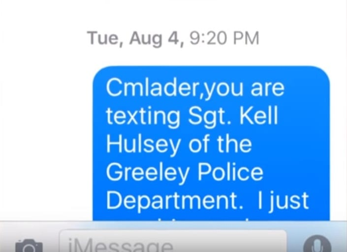 Sgt. Hulsey's text to Carole