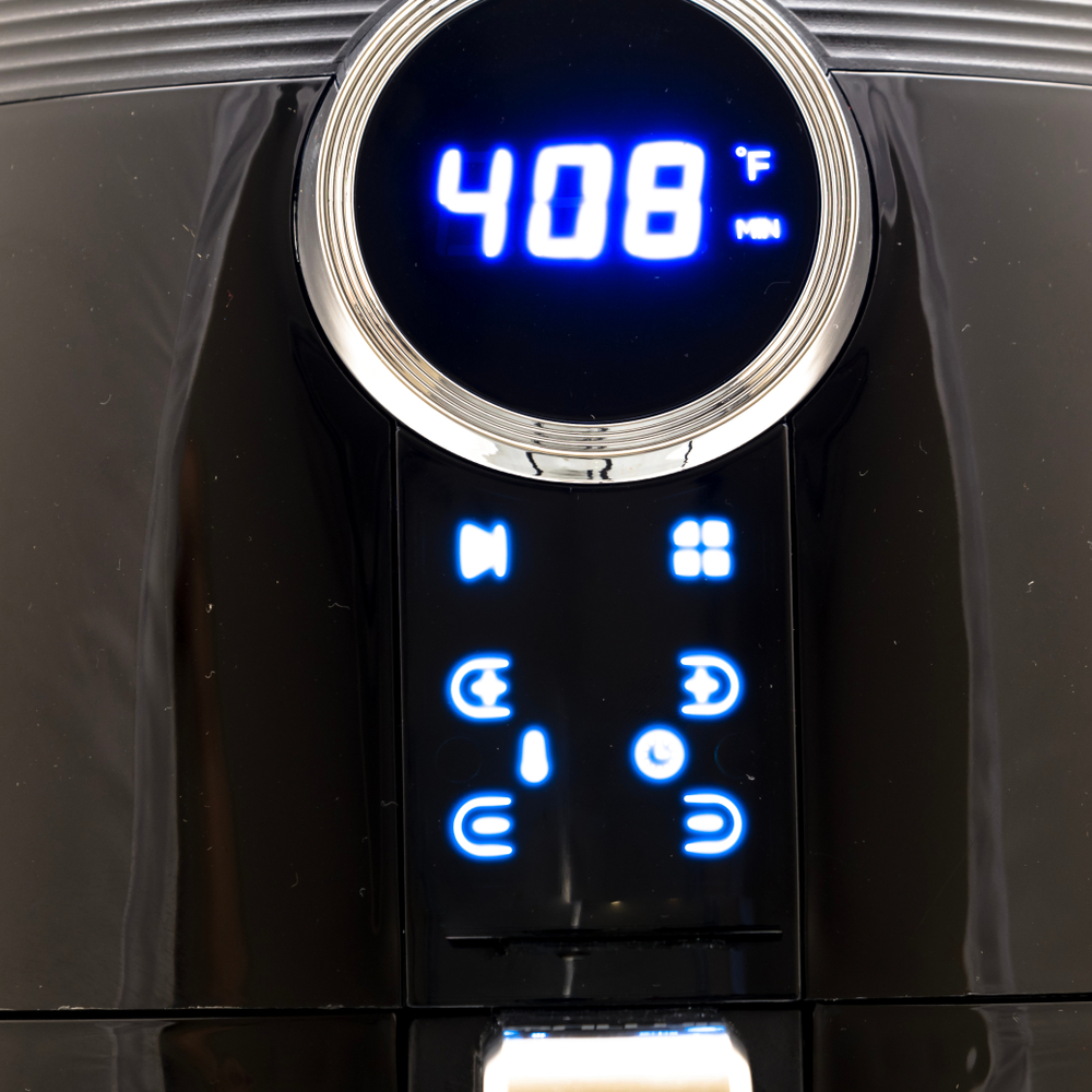 close up of air fryer settings