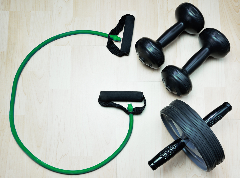 fitness equipment with dumbbells
